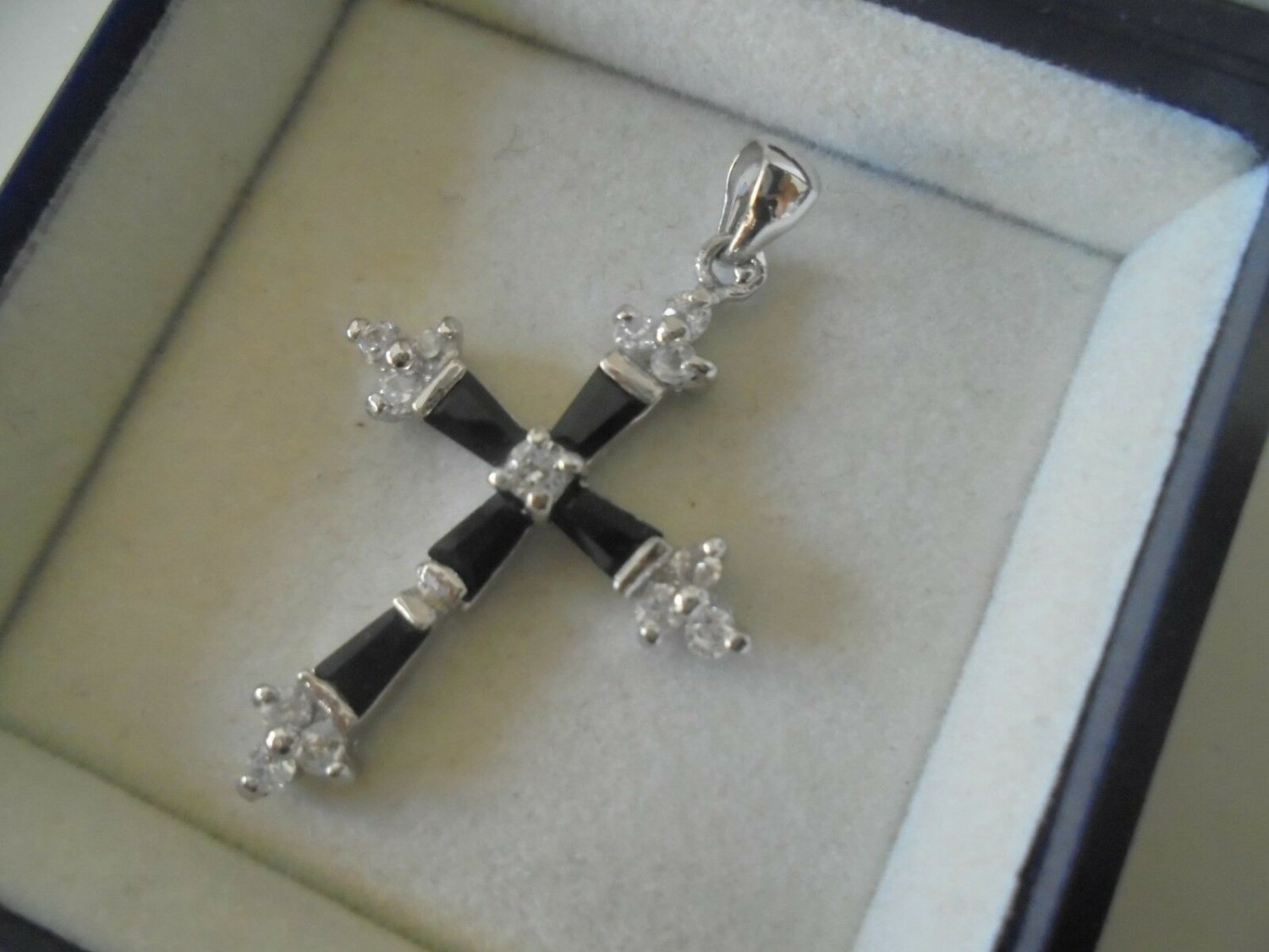 CROSS PENDENT CHARM plated in white gold and with white crystals Original in gift box