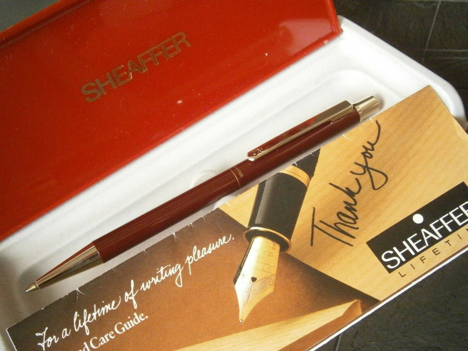 SHEAFFER SAILOR ball pen in steel lacque in dark red color Original in gift box with garantee