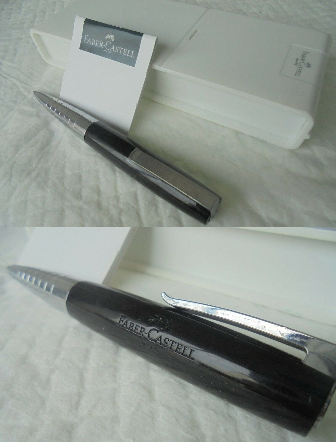 FABER CASTELL LOOM Piano black ball pen and steel In gift box Original