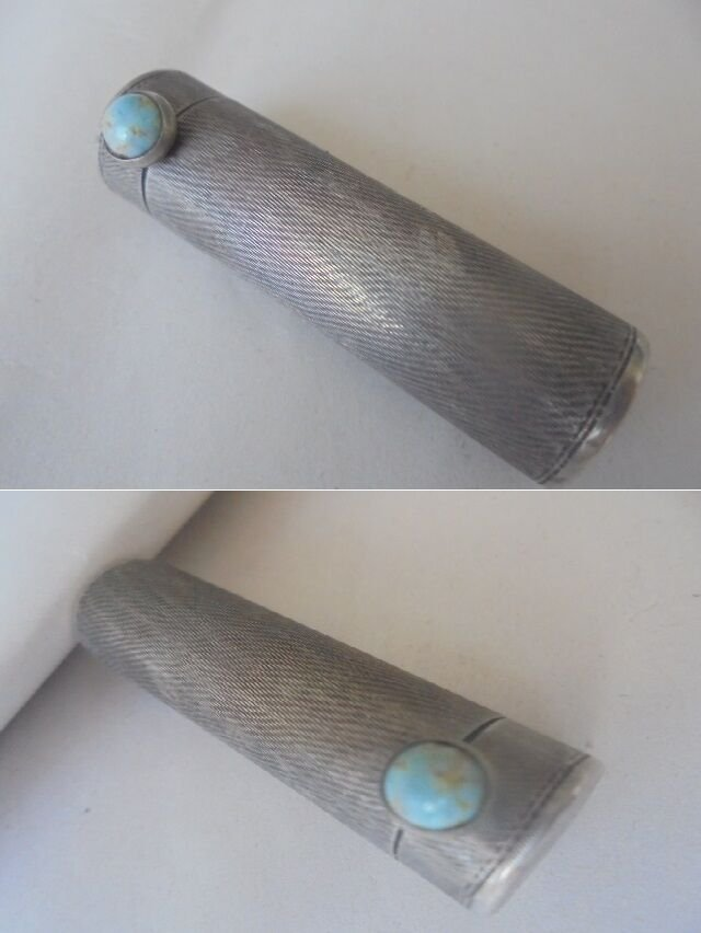 LIPSTICK stick holder case in SILVER 800 with turquoise stone Original from 1950s
