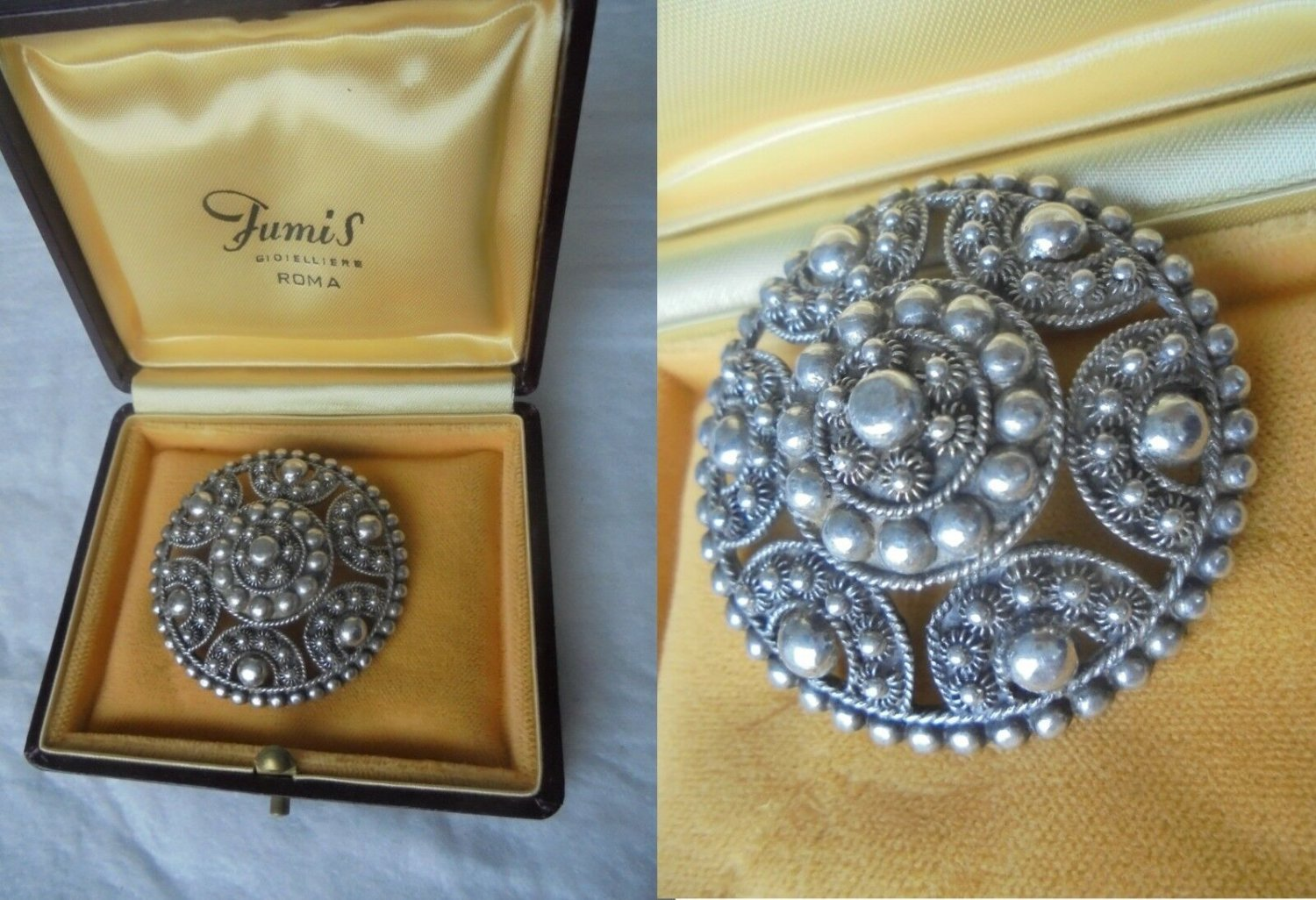 BROOCH in SILVER 800 round shape Original from 1950s in gift box