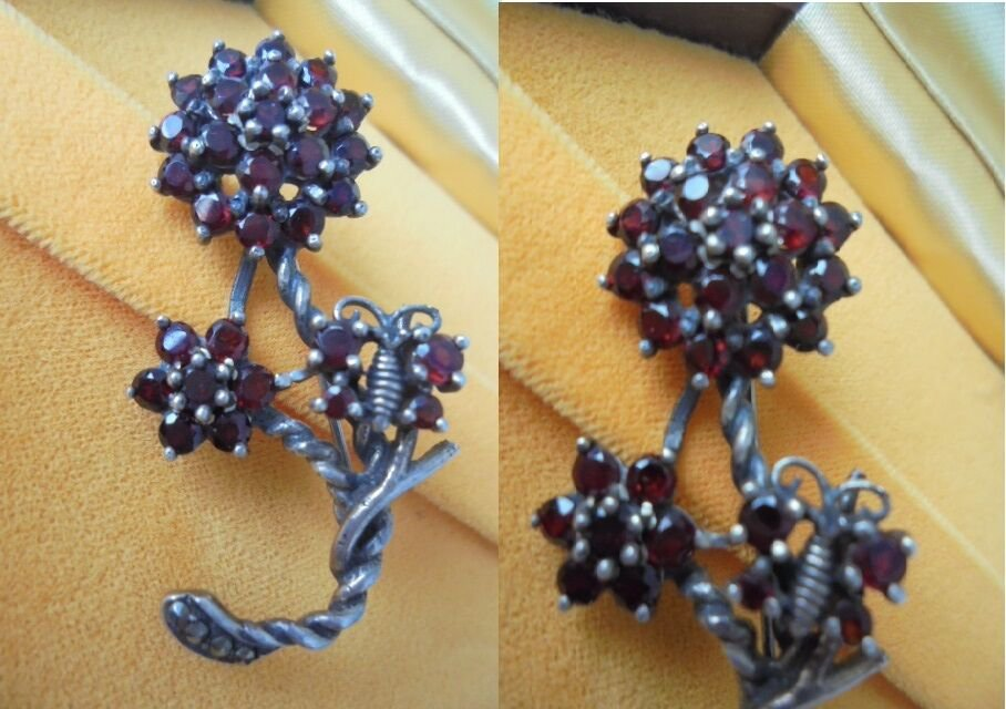 FLOWER BROOCH or pendent in sterling SILVER 925 with rubies Original in gift box