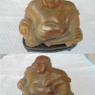 SCULPTURE of BUDDHA in real JADE amber color with base in wood Original from 1970s