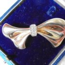 BOW BROOCH Vermeil in Sterling SILVER 925 and Gold plated with pavè of crystals Original