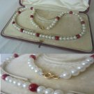 NECKLACE with PEARLS and mediterranena coral with closure in GOLD 18 K original in gift box