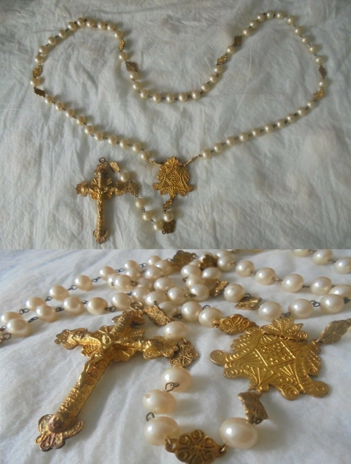 ROSARY PEARL NECKLACE with cross and medal laminated gold Original