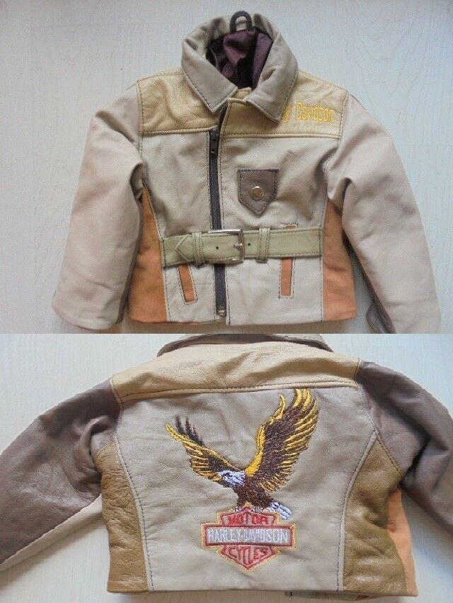 HARLEY DAVIDSON Leather JACKET embroidered for child kid Original