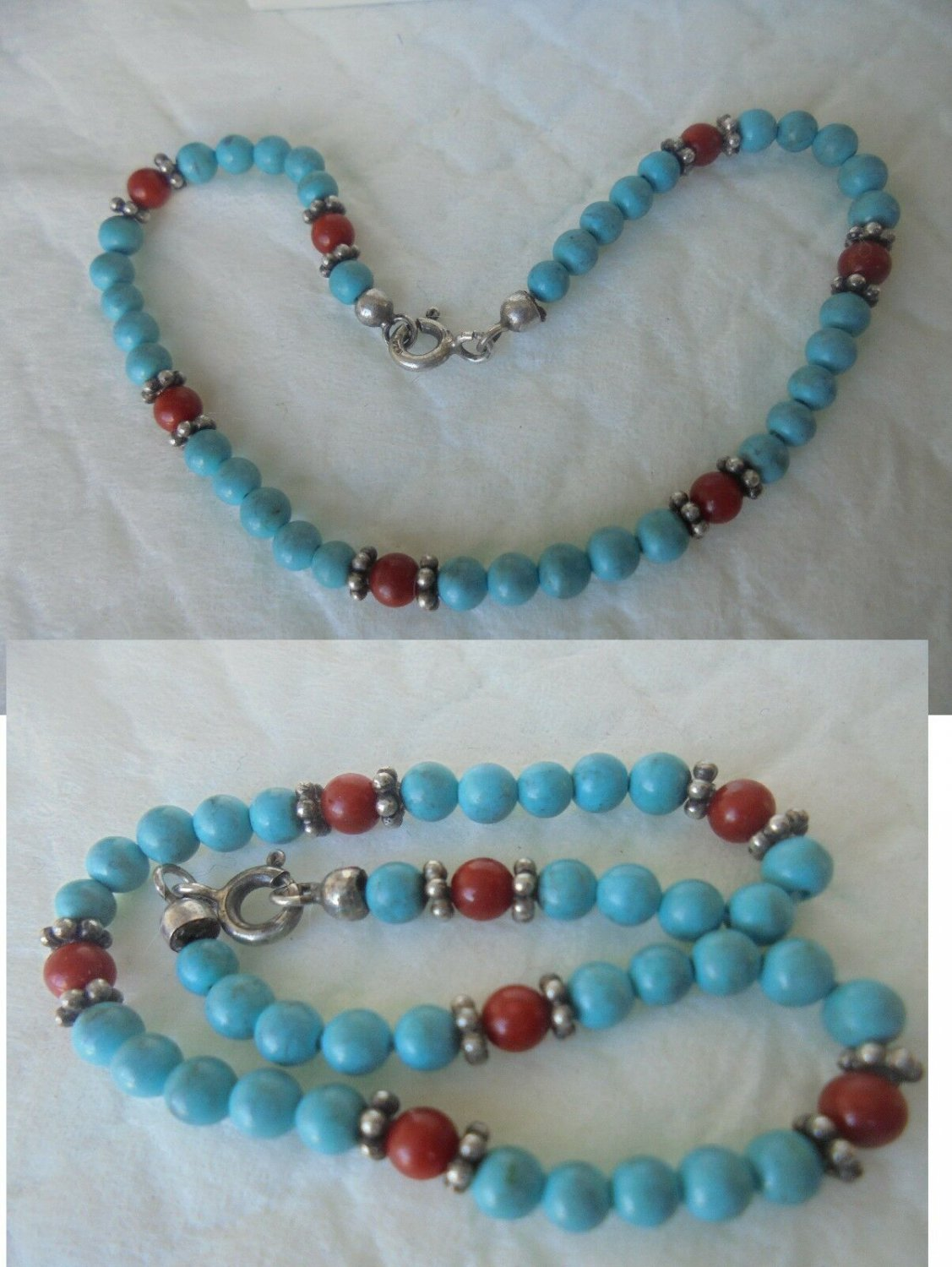 BRACELET in sterling silver 925 with CORAL and TURQUOISE Original in gift box