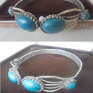 Bracelet in sterling SILVER 925 with 4 CABOCHON in TURQUOISE Original in gift box