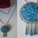 NECKLACE and pendent brooch sterling SILVER 925 and TURQUOISE Navajo Reservation Usa Original 1980s