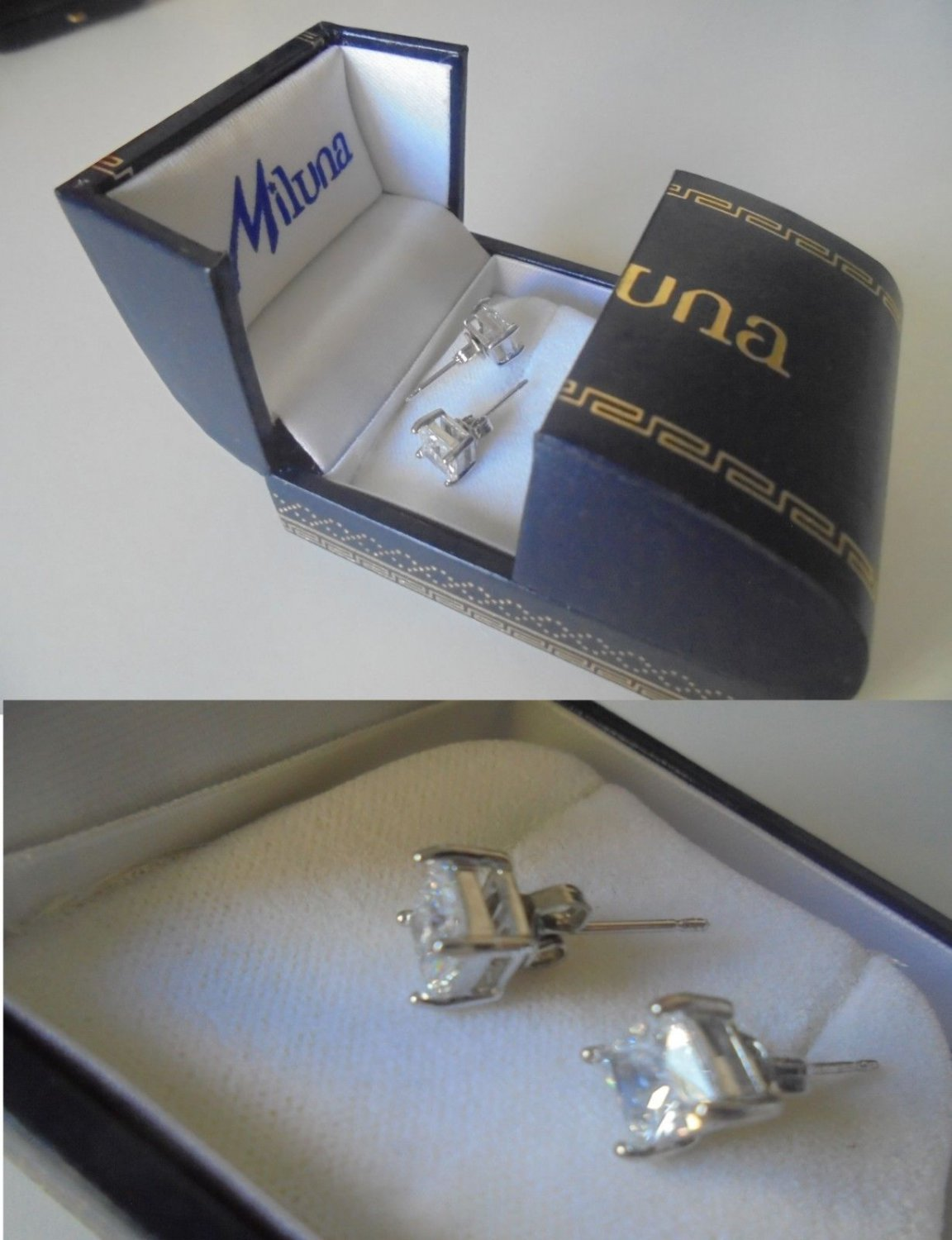 MILUNA Italy EARRINGS studs with 2 SWAROVSKI white crystals Original in gift box