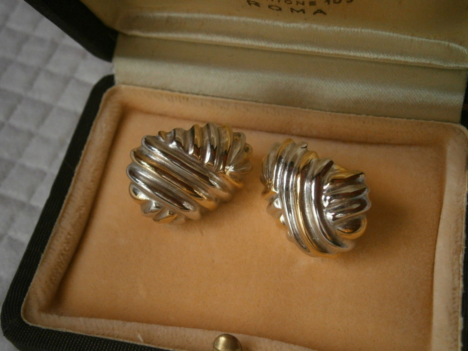 KNOT EARRINGS in STERLING silver 925 and gold plated Original in gift box