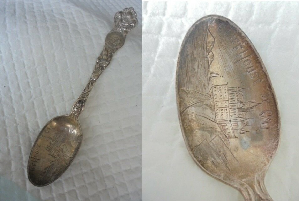Collectors Spoon in STERLING silver 925 Souvenir of SAN FRANCISCO Cliff House Usa Original 1950s