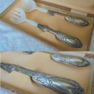 Serving set of big FORK and SPOON in SILVER 800 Original 1950s In gift box Elegant