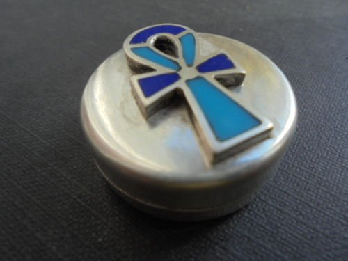 ANKH CROSS of life pill BOX in silver 800 and enameled Original from 1980s