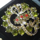 BIG FLOWER BROOCH with Swarovski crystals green and red Original Liberty style in gift box