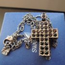 SWAROVSKY NECKLACE with CROSS pendent charm with black crystals Original in gift box