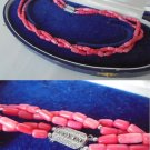 CORAL NECKLACE with 2 strands and closure in SILVER 800 Original 1950s in gift box