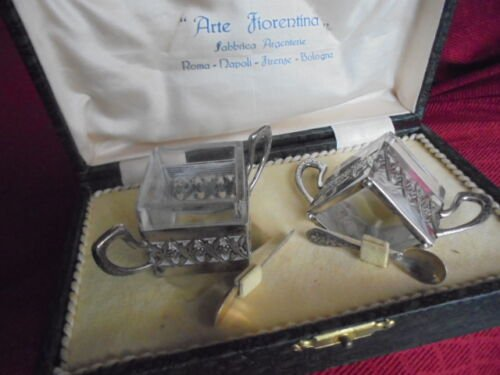 SALT and PEPPER table set in SILVER 800 and crystal Original in gift box 1940s