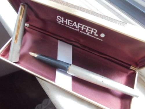SHEAFFER STYLPOINT fountain pen brushed silver and in gold 14K Original in gift box