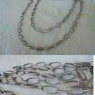 Long NECKLACE in SILVER 800 chain with ovals Original in gift box