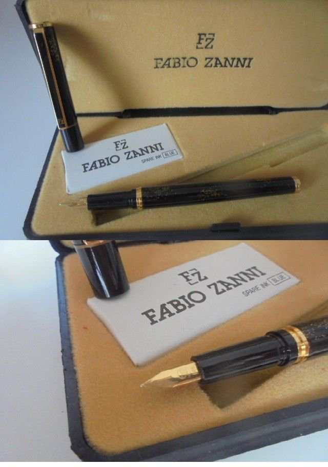 FABIO ZANNI ITALY fountain pen lacquè in black color and nib in gold 14K Original in gift box