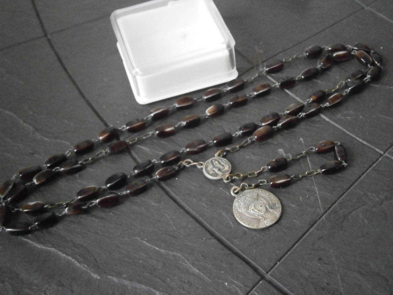 ROSARY Vergin Mary of the well of Capurso Bari ITALY beads MURANO glass Original 1950s in gift box