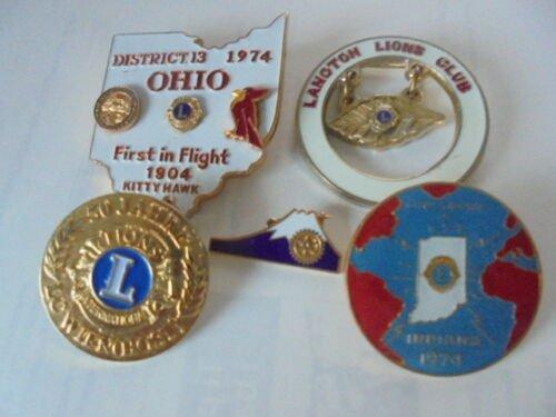LIONS CLUBS INTERNATIONAL 5 Pins from Vienna, Japan, Usa Originals 1970s