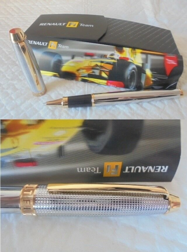 RENAULT F1 TEAM roller ball pen Formula 1 in steel and gold Original in gift box
