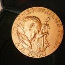 BRONZE MEDAL laminated gold visit of Pope John Paul II Wojtyla in Holy Land Engraved Pancotto 2000