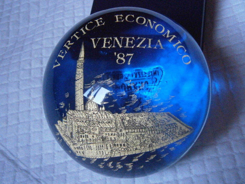 MURANO Paperweight paper weight in glass Venice Italy Original by FERRO & LAZZARINI 1987