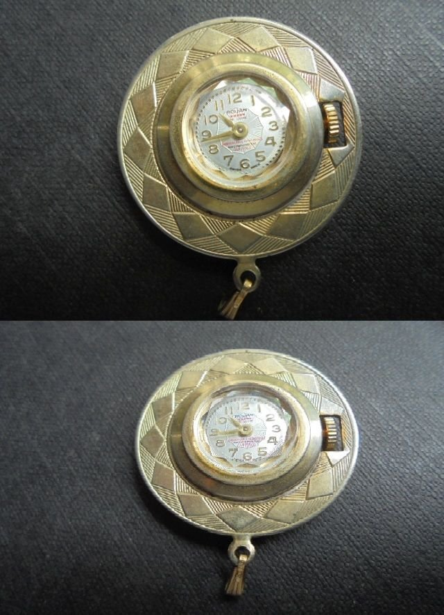 ROUAN DE LUX brooch watch plated gold Original from 1940s Working