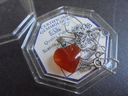 NECKLACE STERLING SILVER 925 with heart pendent agate stone Original +certificate +gift box