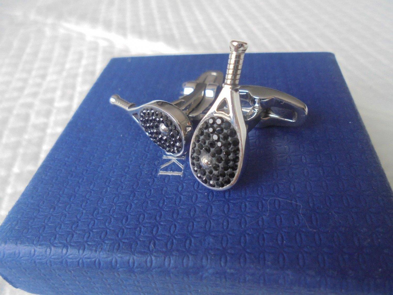 SWAROVSKI CUFFLINKS with black crystals TENNIS racket shape Original in gift box