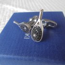 SWAROVSKI CUFFLINKS with black crystals TENNIS racket shape Original in gift box