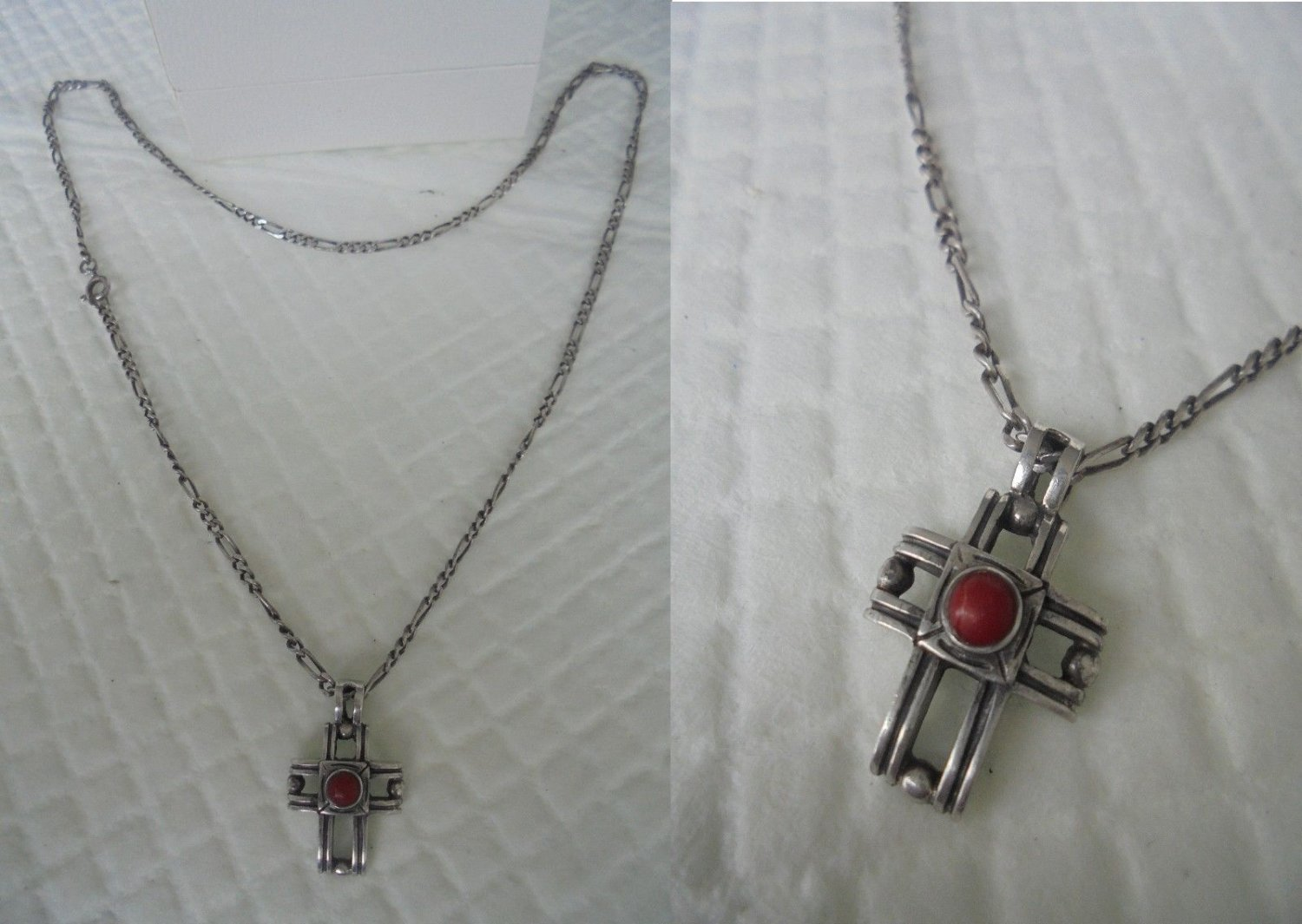 NECKLACE and CROSS PENDENT in sterling silver 925 with cabochon in red coral Original