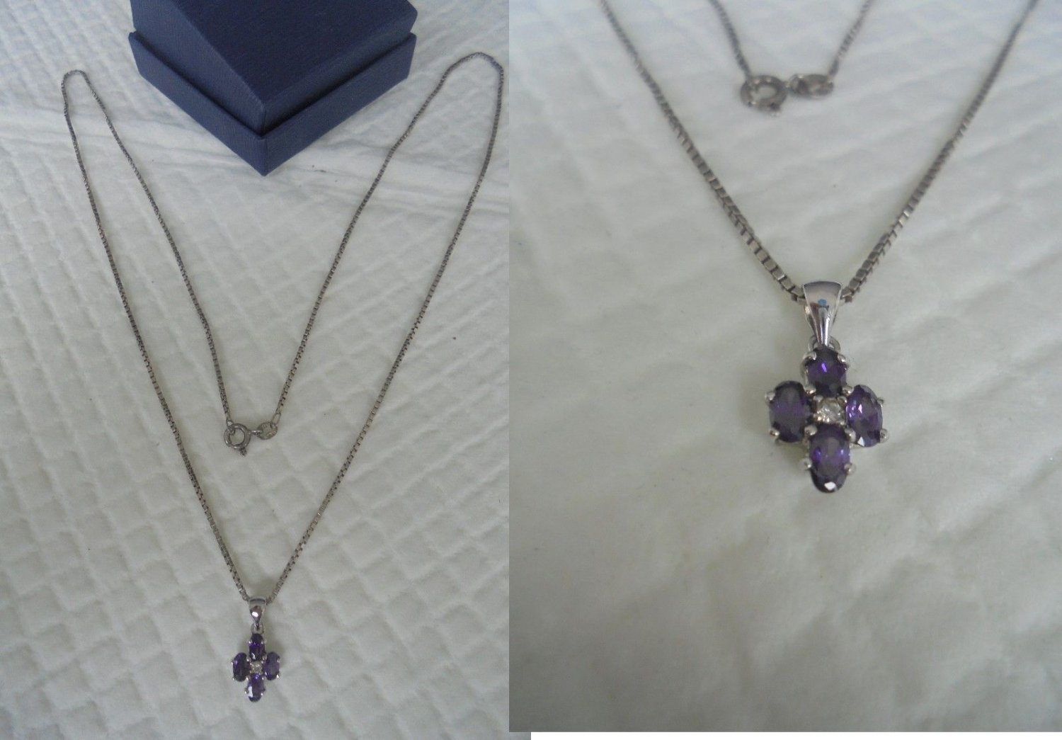 NECKLACE in STERLING SILVER 925 and pendent cross with 4 amethyst stones Original in gift box