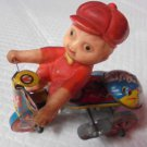 MJU KOREA KID on a motorcycle tin toy wind up mechanism Original 1950s