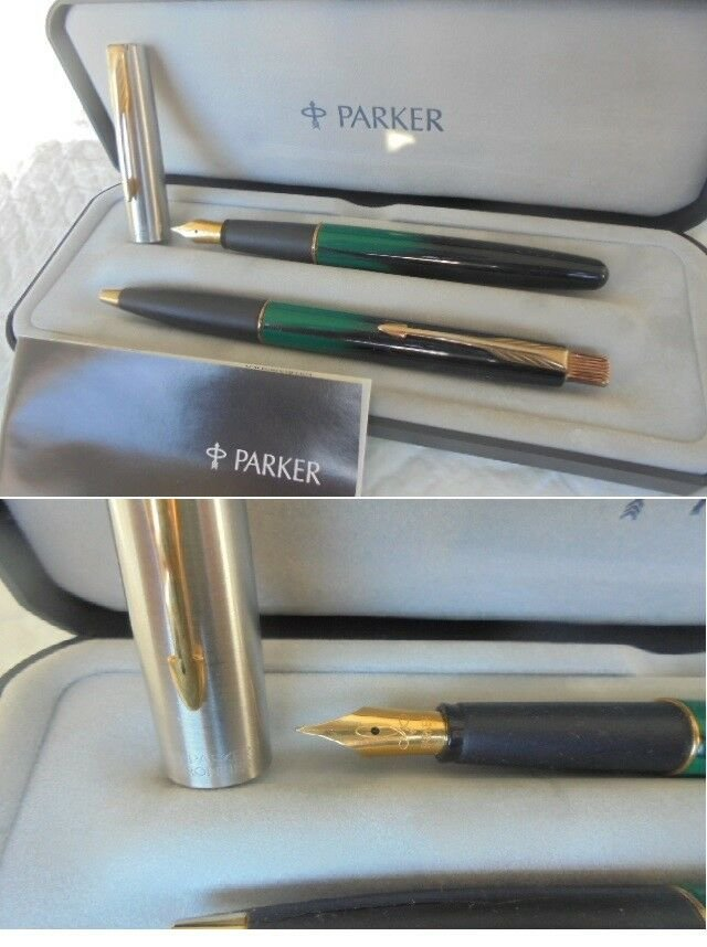 PARKER FRONTIER SET Green fountain pen and ball point pen In gift box with garantee Original