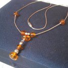 NECKLACE in sterling SILVER 925 and natural AMBER Original in gift box