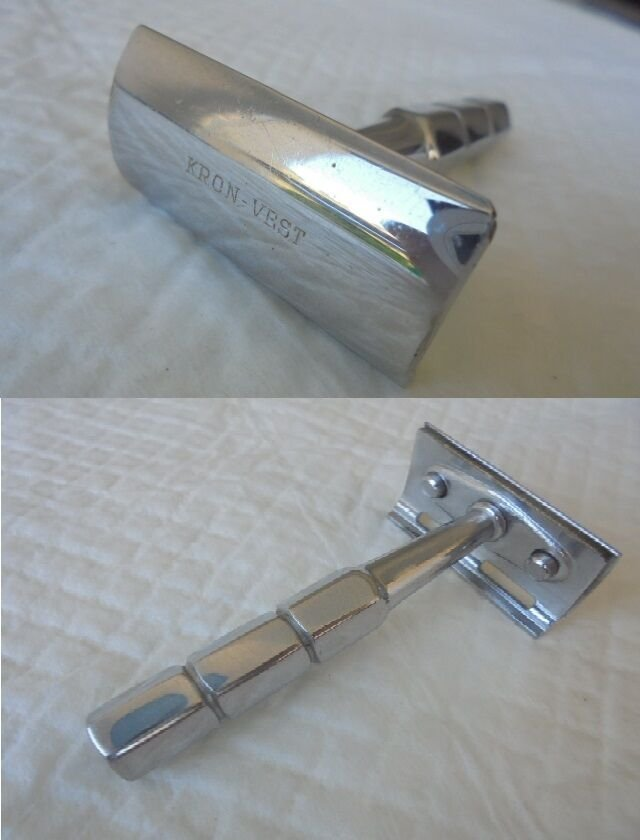 KRON VEST Shaving razor in steel Original Art Deco style from 1950s