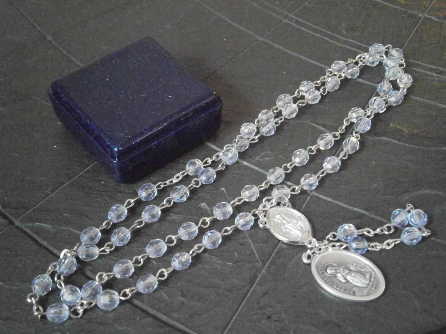 ROSARY NECKLACE with medal of Saint Bernadette Soubirous Original 1980s in gift box