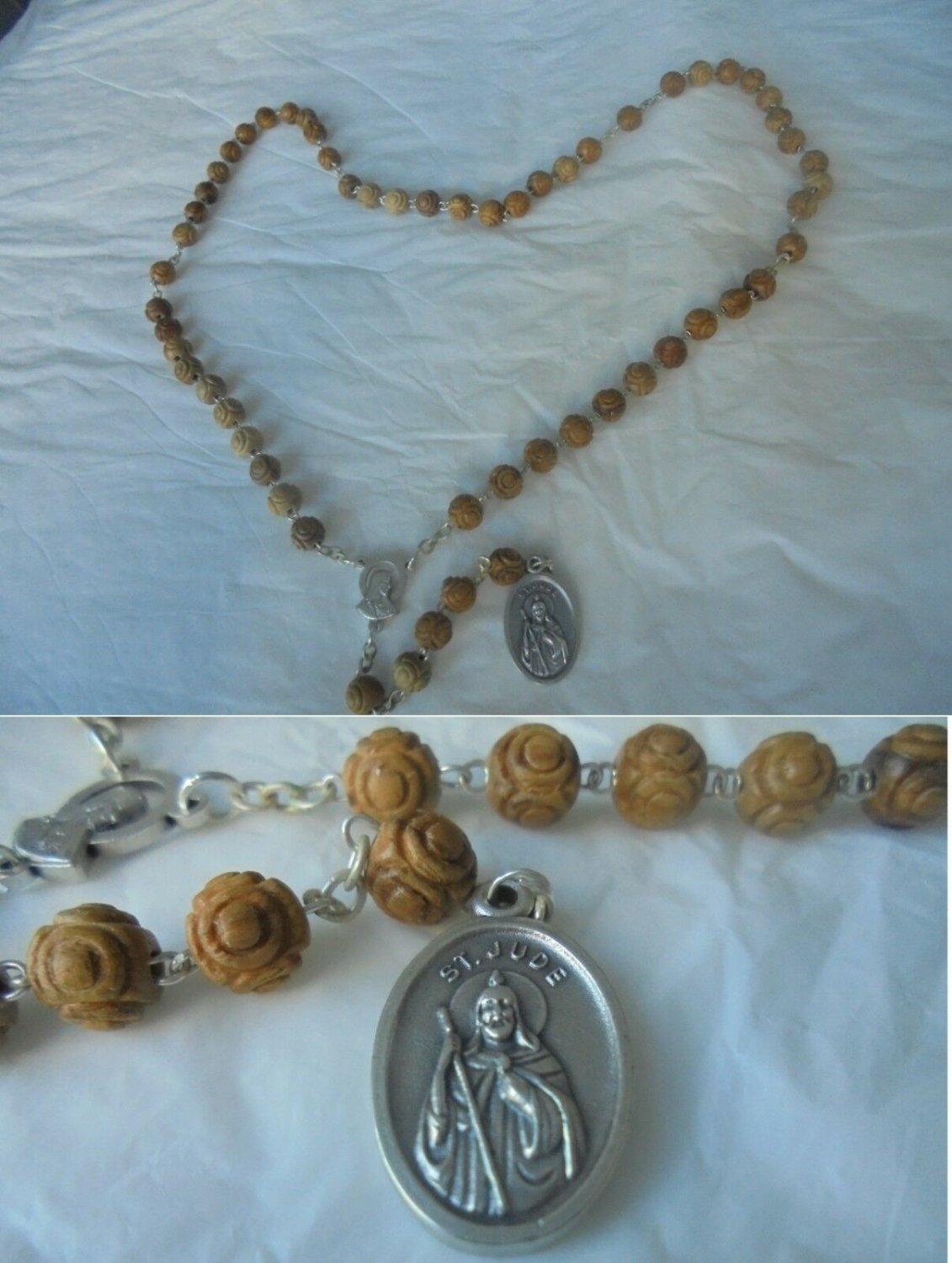 ROSARY Necklace of SAINT JUDE in wood Original 1980s