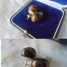 EARRINGS in SILVER 800 and TIGER Eye stone Original in gift box