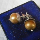 Natural Gold PEARLS EARRINGS in silver 800 Original from 1960s in gift box