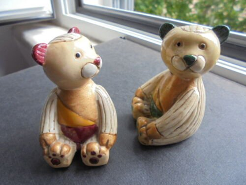 2 BEARS in porcelain made by CAPODIMONTE NAPOLI Italy Original from 1960s