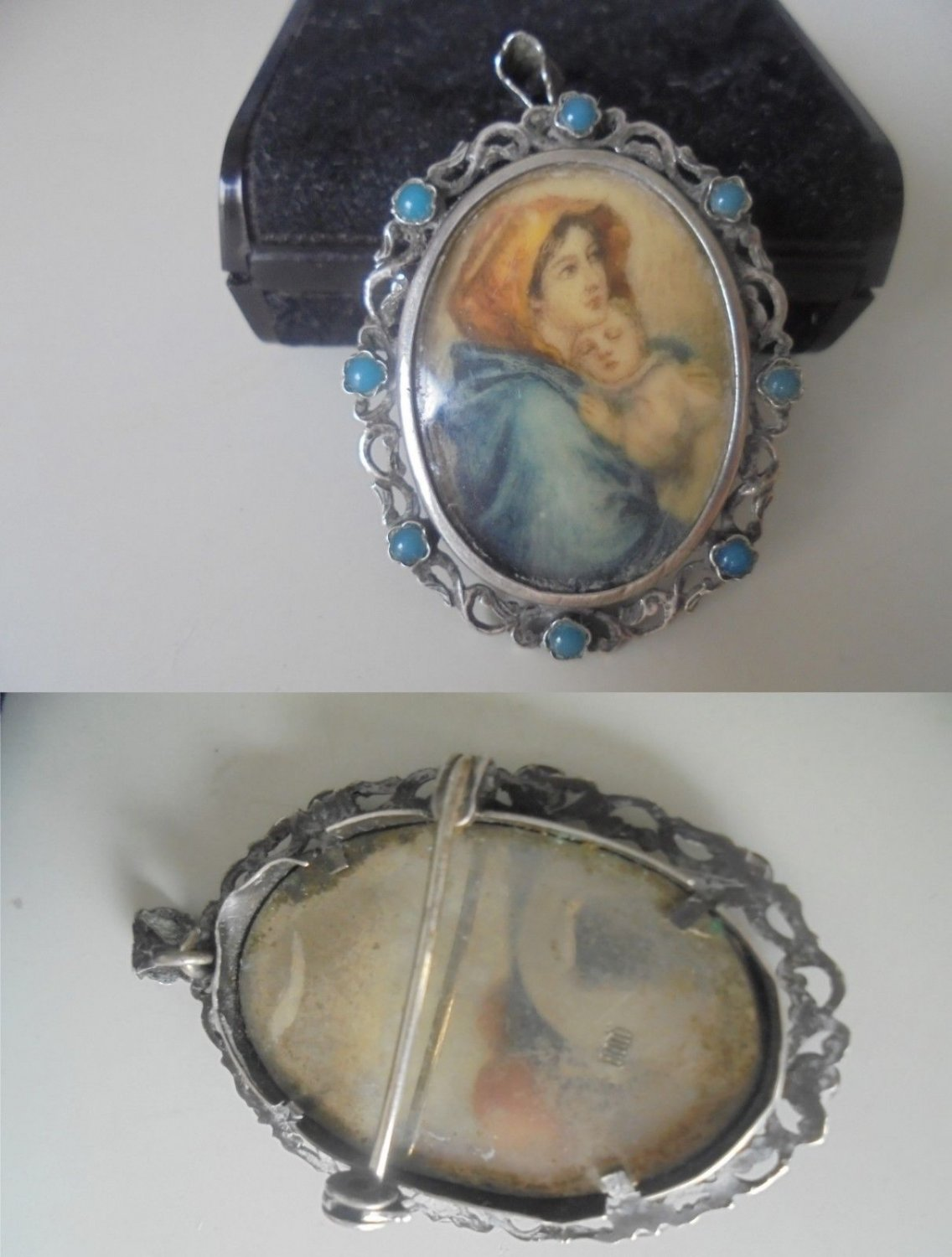 CHARM PENDENT PICTURE frame in silver 800 and with turquoise Original 1960s in gift box