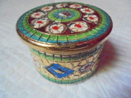 DE RUTA ITALY ceramic pill box with gold Original Deruta made by Sambuco Mario