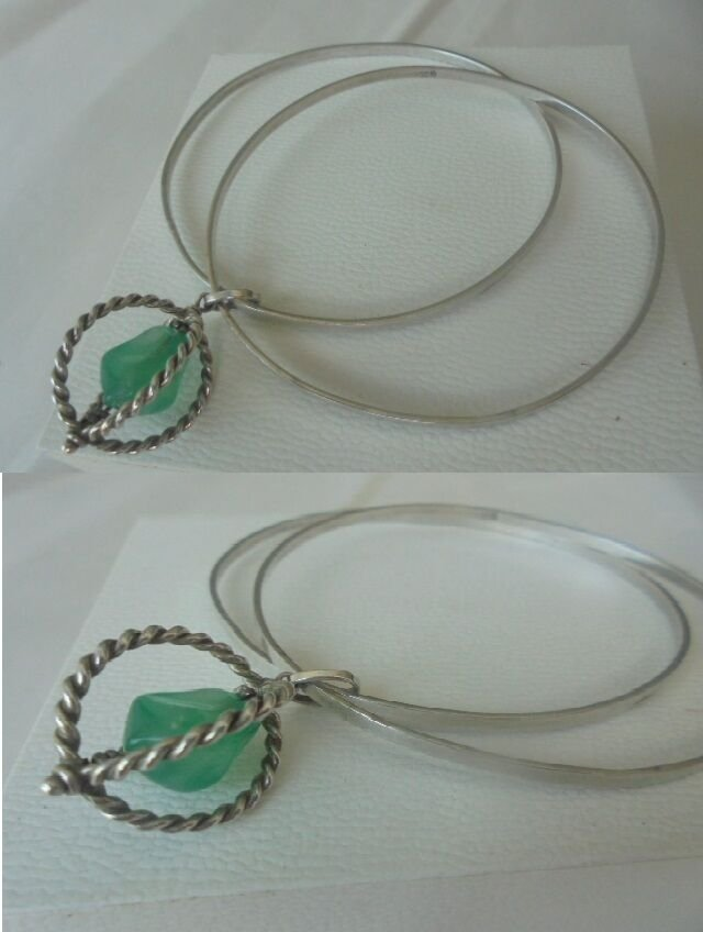 BRACELET in SILVER 800 with 2 rings and JADE pendent charm Original in gift box
