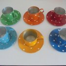 COFFEE SET 6 Cups + 6 Plates in TIN for children Vintage from 1960s Original Toy game